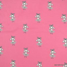 Tissu jersey motifs lapins fond rose - oeko tex