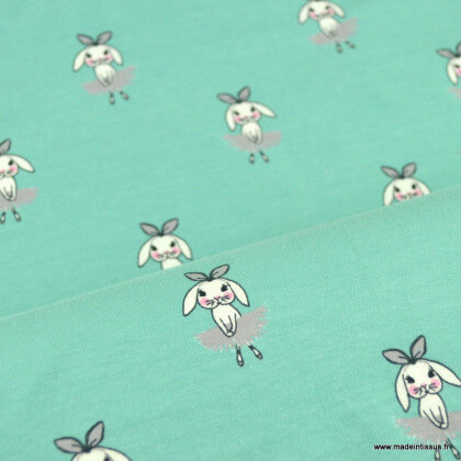 Tissu jersey motifs lapins ballerine fond rose - oeko tex