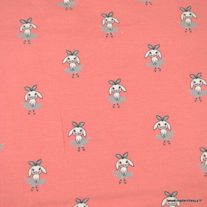 Tissu jersey motifs lapins ballerine fond grenadine - oeko tex