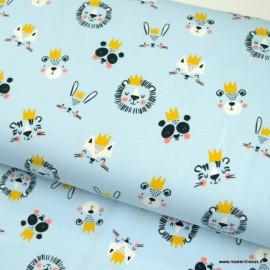 Tissu jersey motifs animaux à couronnes fond bleu ciel - oeko tex