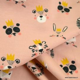 Tissu jersey motifs animaux à couronnes fond saumon - oeko tex