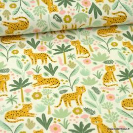 Tissu jersey Oeko tex motifs tigres et forêt exotique fond blanc