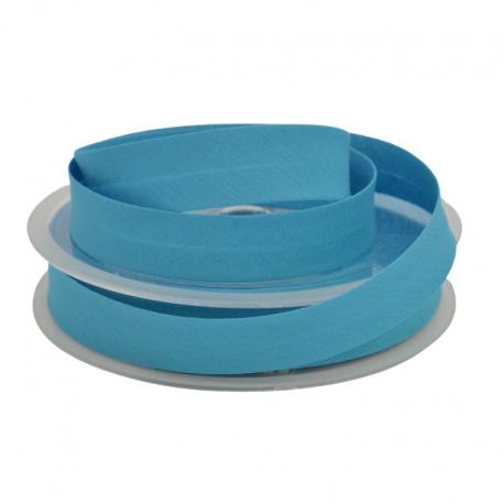 Biais replié 18 mm coton uni Bleu Petrole