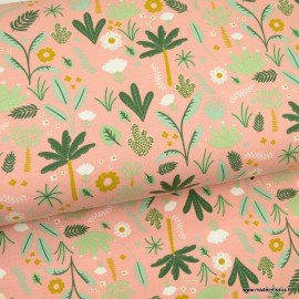 Tissu jersey Oeko tex motifs forêt tropicale fond saumon