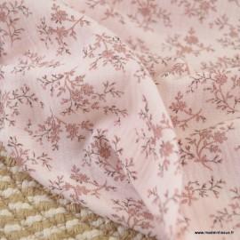 Double gaze de coton Bio Gots & oeko tex Colette motifs fleurs fond Rose
