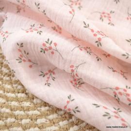 Double gaze de coton Bio Gots & oeko tex Simone motifs fleurs fond Rose