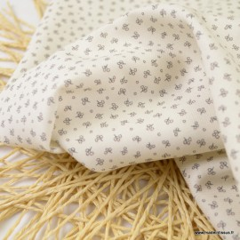 Sergé de coton Bio Gots & oeko tex à petites fleurs fond écru