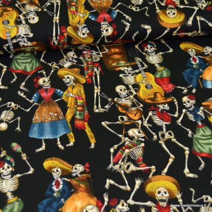"""Tissu Popeline coton imprimé squelettes  """"Fiesta de los muertos"""" par Alexander Henry"""