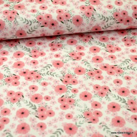Tissu jersey Oeko tex motifs fleurs rose fond gris