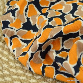 Tissu Viscose stretch motif abstrait fond marine - oeko tex