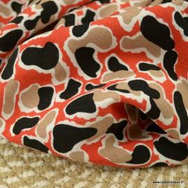 Tissu Viscose stretch motif abstrait terracotta et marine - oeko tex