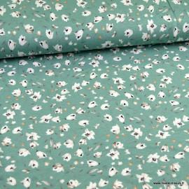 Tissu Jersey Viscose motifs fleurs fond céladon
