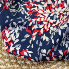 Tissu Jersey Viscose motifs feuilles rouges fond marine