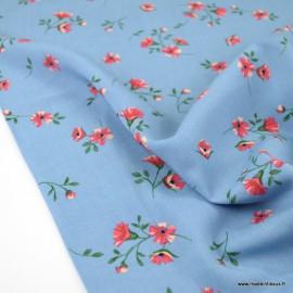 Tissu Viscose Arleti motifs fleurs fond bleu