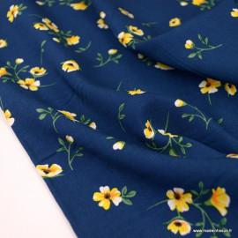 Tissu Viscose Arleti motifs fleurs fond marine