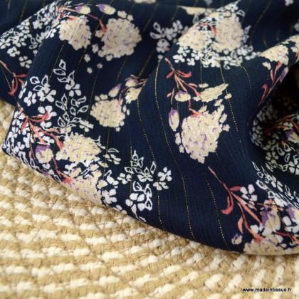 Crêpe viscose fluide motifs fleurs et rayures Lurex