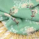Crêpe viscose fluide motifs fleurs et rayures Lurex fond menthe