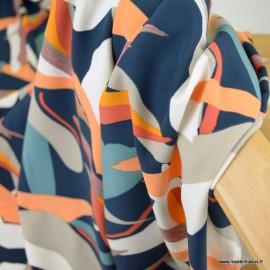 Crêpe fluide motifs abstraits fond marine
