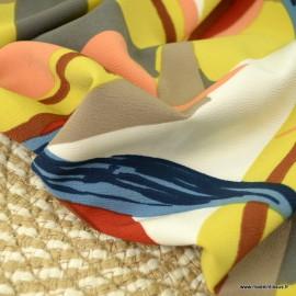 Crêpe fluide motifs abstraits fond jaune