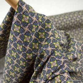 Tissu Viscose Wax motifs graphique Pécan - oeko tex