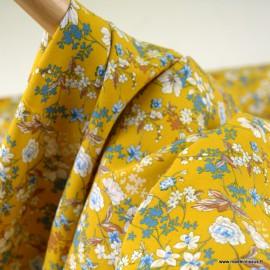 Tissu Viscose Anaïs motifs fleurs fond Safran - oeko tex