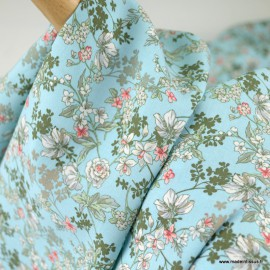 Tissu Viscose Anaïs motifs fleurs fond Turquoise - oeko tex