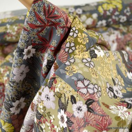 Tissu Viscose Ayo motifs Japonais fond gris graphite - oeko tex