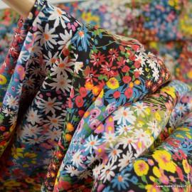 Tissu Viscose Alicia motifs fleurs fond Noir - oeko tex