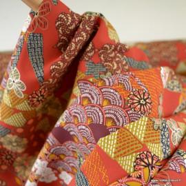 Tissu Viscose Yin motifs Japonais fond Rouge - oeko tex