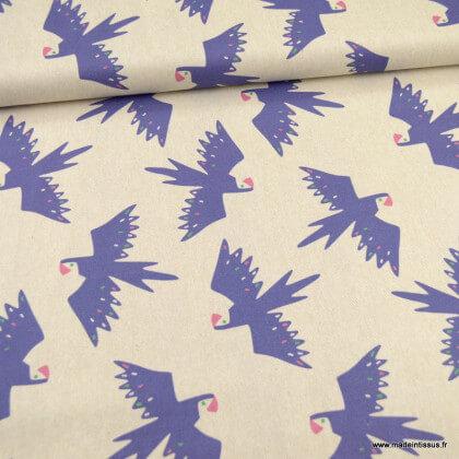 Tissu Toile de coton Canva motifs oiseaux tropicaux fond écru - Katia Fabrics