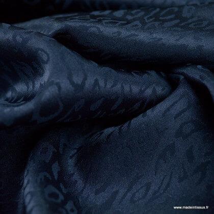 Tissu Satin motif léopard marine