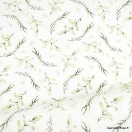 Tissu jersey Oeko tex feuillage vert pâle