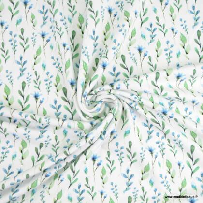 Tissu jersey Oeko tex motifs brindilles fond blanc cassé