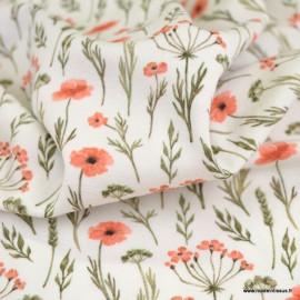 Tissu jersey Oeko tex motifs brindilles et fleurs corail fond blanc cassé