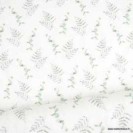 Tissu jersey Oeko tex motifs fleurs d'eucalyptus et feuillage