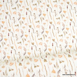 Tissu jersey Oeko tex motifs fleurs séchées fond blanc cassé