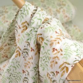 Tissu double gaze de coton feuillage vert et camel fond blanc cassé - Oeko tex