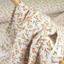 Tissu double gaze de coton fleurs d'automne fond blanc cassé - Oeko tex