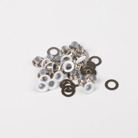 Oeillets avec rondelles 4mm + jeu de pose - Nickelé blanc - Bohin
