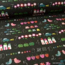 Tissu coton Chalkboard fond tableau noir - oeko tex