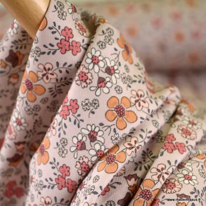 Sergé de coton Bio Gots & oeko tex motifs fleurs d'automne fond Caramel
