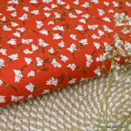 Tissu Jersey Viscose motifs fleurs fond rouge - oeko tex