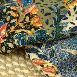 Tissu Viscose Rayon motifs fleurs fond kaki et Lurex