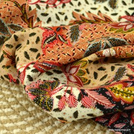 Tissu Viscose Rayon motifs fleurs fond Terracotta et Lurex