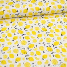 Tissu Popeline motifs citrons et rondelles - oeko tex