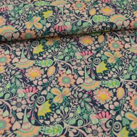 Tissu Popeline coton fleurs fond bleu Solstice - Windham Fabrics - Oeko tex