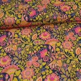 Tissu Popeline coton fleurs Ocre Solstice - Windham Fabrics - Oeko tex