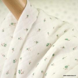 Double gaze de coton Bio Gots & oeko tex Gisèle motifs fleurs vertes fond Naturel