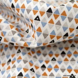 Tissu coton Arlymini motifs triangles ocre, bleu et blanc - Oeko tex