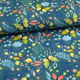 Tissu jersey French terry Butterflies in bloom Paon - oeko tex